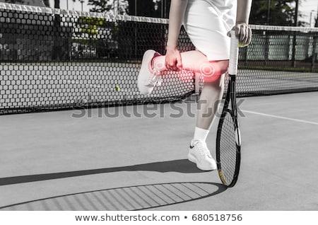 Yaralı atlet tenis raketi tenis topu beyaz kadın Stok fotoğraf © wavebreak_media