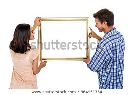 Resim çerçevesi beyaz çerçeve kadın Stok fotoğraf © IS2