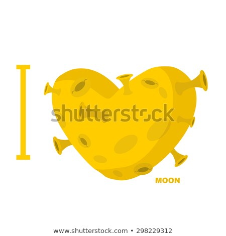 Amor lua coração símbolo amarelo planeta Foto stock © popaukropa