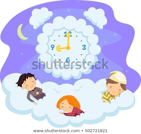 Stockfoto: Stickman Kids Cloud Sleep Time