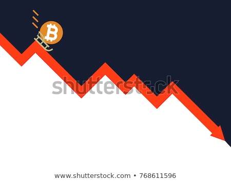 Falling bitcoin graph. Decrease in Cryptocurrency. Virtual money Stock photo © popaukropa