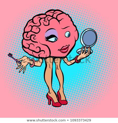 Karakter beyin kadın makyaj kirpik Stok fotoğraf © rogistok