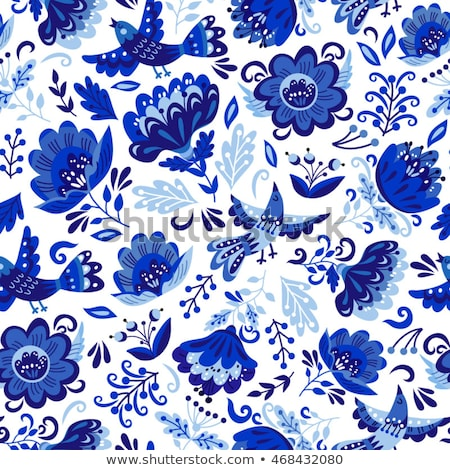Vector seamless pattern with flowers and leaves in Gzhel Russian style. Folk background for textile, Stock photo © mcherevan