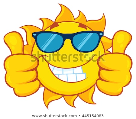 Sorridente sol mascote cara olhos Foto stock © hittoon