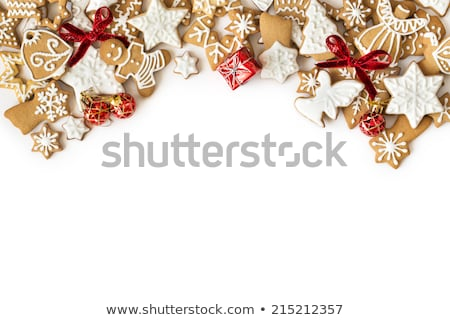 Christmas card - gingerbreads with white icing Stock photo © orson