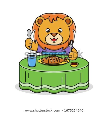 Mascota león comer carne proteína ilustración Foto stock © lenm