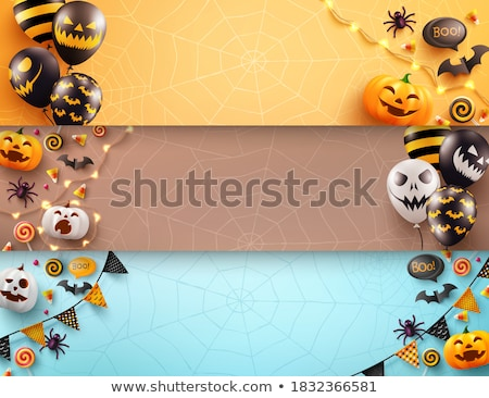 black halloween vector set with scary balloons with faces stock photo © pravokrugulnik