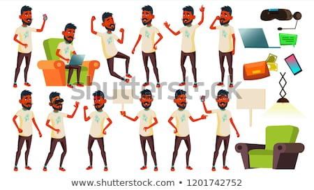 Teen Boy Poses Set Vector. Indian, Hindu. Asian. Friendly, Cheer. For Banner, Flyer, Brochure Design Stock photo © pikepicture