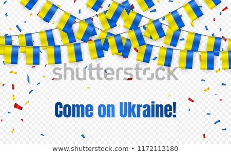 Ukraine garland flag with confetti on transparent background, Hang bunting for celebration template  stock photo © olehsvetiukha