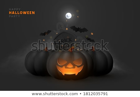 halloween sale vector flyer illustration with scary faced moon and flying bats on orange background stock photo © articular