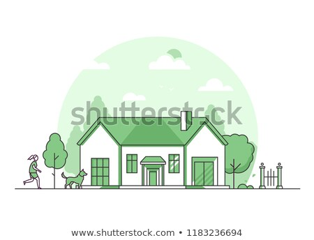 Nice cottage - modern thin line design style vector illustration Stock photo © Decorwithme