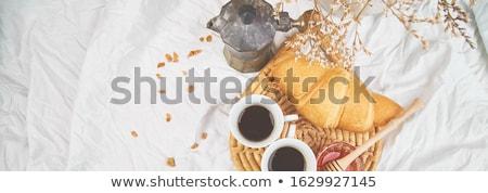 Stockfoto: Goedemorgen · twee · beker · koffie · croissant · jam