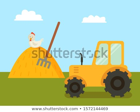 abstract farm with tractor and stack of hay poster stock photo © robuart