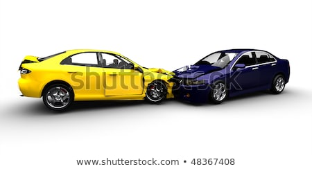 Stock photo: Toy Car Accident Cars In Crash Isolated On White