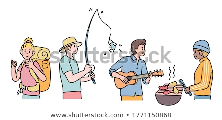 Fishing Hobby of People Set Vector Illustration Stock photo © robuart