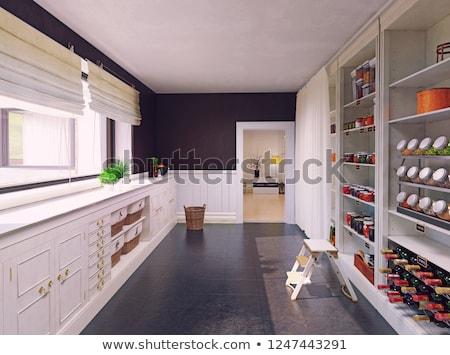 кухне кладовая Полки товары вектора рисованной Сток-фото © Margolana