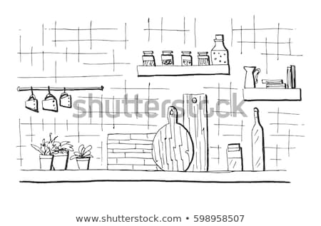 Kitchen worktop. Table top in the kitchen. Vector illustration in sketch style Stock photo © Arkadivna