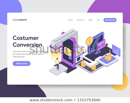 isometric flat vector landing page template of conversion rate optimization stock photo © tarikvision