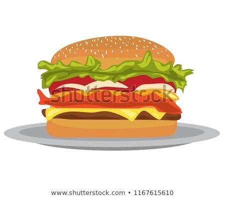 Cartoon Cheese Burger on Plate Stock photo © Krisdog