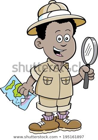 Cartoon African boy explorer stock photo © bennerdesign