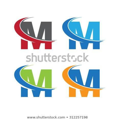 letter m logo set green orange icon vector stock photo © blaskorizov