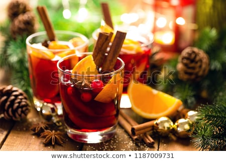 Mulled wine or hot punch with cranberries for Xmas Stock photo © brebca