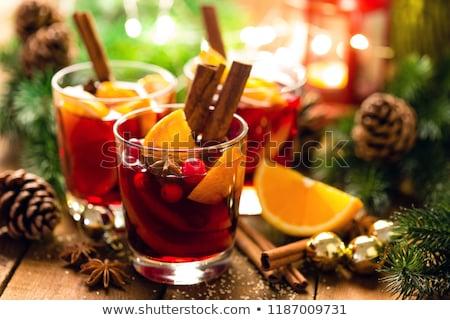 şarap · kadehi · şarap · turuncu · baharatlar · meyve · cam - stok fotoğraf © brebca