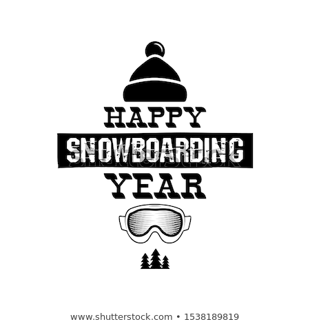 Happy Snowboarding Year - Snowboard tee graphic design, winter logo. For mountains adventurer, snowb Stock photo © JeksonGraphics
