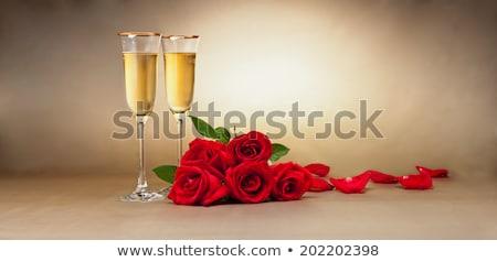 dwa · szampana · okulary · czerwony · christmas · śniegu - zdjęcia stock © mikhailmishchenko