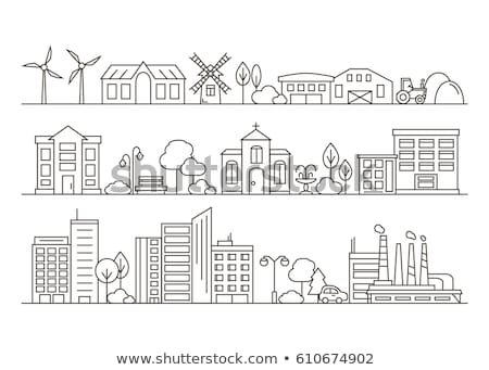 Farm Tractor and Building Vector Illustration Stock photo © robuart