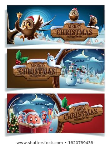 Natal conjunto elfo ilustração árvore Foto stock © colematt