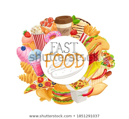 Hamburger fast food kleurrijk posters geïsoleerd Stockfoto © robuart