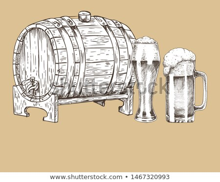 Ale Barrel and Refreshing Drink Hand Drawn Poster Stock photo © robuart