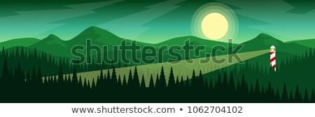 Azul paisagem silhuetas casa árvores montanhas Foto stock © AisberG