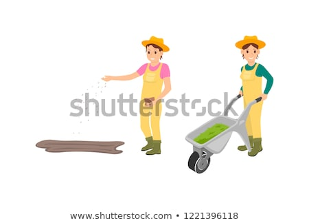 Farmer Sowing Seeds Icons Set Vector Illustration Stock photo © robuart
