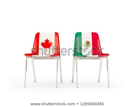 Dos sillas banderas Canadá México aislado Foto stock © MikhailMishchenko