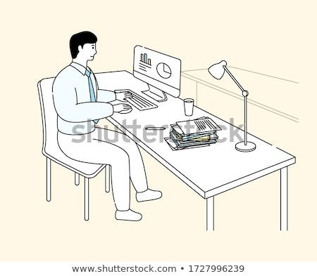 Businessman drawing business analysis chart and businessman at desk vector illustration. Stock photo © RAStudio