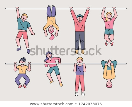 men at the gym   flat design style colorful illustration stock photo © decorwithme