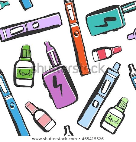 Vecteur couleur croquis électronique cigarette jus Photo stock © netkov1