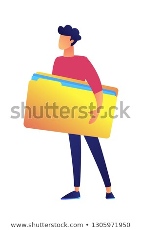 Businessman holding big opened document folder vector illustration. Stock photo © RAStudio
