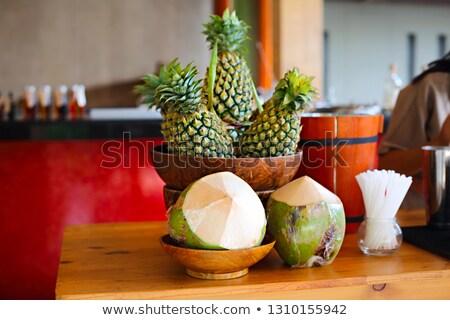 Stockfoto: Bar · kokosnoten · tropische · vruchten · hout