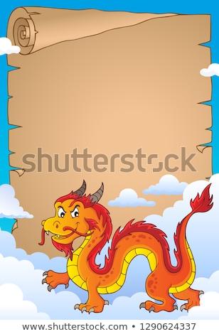 Kínai sárkány pergamen papír felhők felhő kínai Stock fotó © clairev