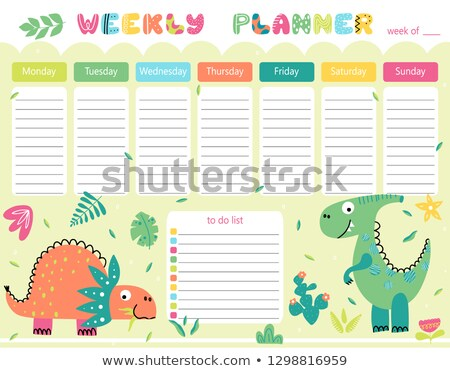 Weekly planner with dinosaurs in background Stock photo © colematt