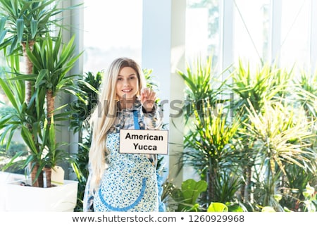 cheerful young woman standing at a greenhouse stock photo © deandrobot
