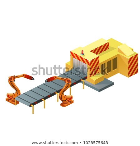 Robotic conveyor belt isolated on white background. Vector cartoon close-up illustration. Stock photo © Lady-Luck