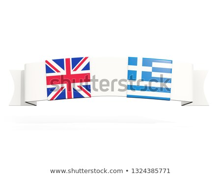 Banner with two square flags of United Kingdom and greece Stock photo © MikhailMishchenko
