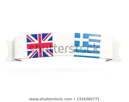 баннер два квадратный флагами Великобритания Греция Сток-фото © MikhailMishchenko
