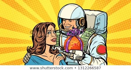 çift sevmek astronot kadın pop art Retro Stok fotoğraf © studiostoks