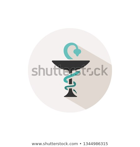 Pharmacy color icon with shadow on a beige circle. Snake symbol Stock photo © Imaagio