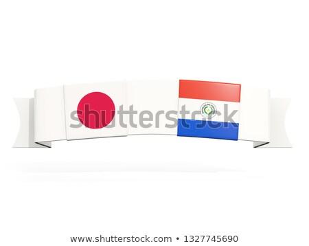 баннер два квадратный флагами Япония Парагвай Сток-фото © MikhailMishchenko